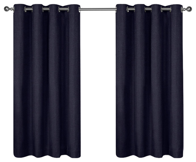 "London Grommet Top Curtains, Set Of 2, Indigo, 52""x63""."