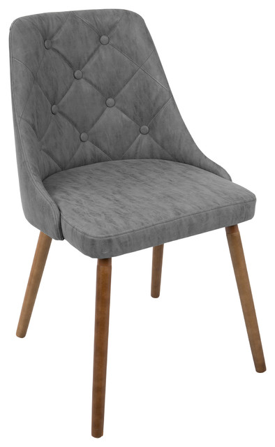 LumiSource Giovanni Dining Chair, Walnut and Gray Quilted PU
