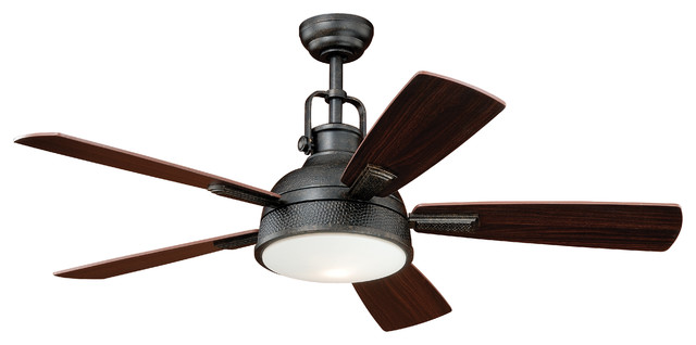 Walton ceiling fan 52 quot gold stone steel 1 light transitional ceiling