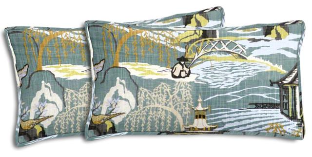Neo Toile Lumbar Pillows Set of 2 Asian Decorative