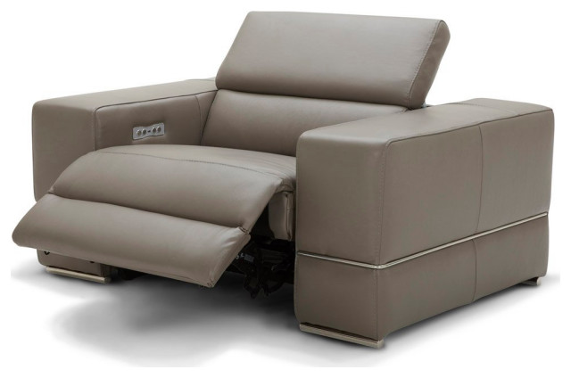 Modern Luxor Reclining Chair with Power Headrests - Slate Top Grain Leather