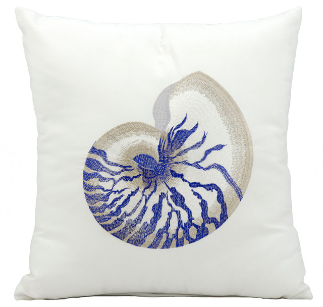 Mina Victory Blue Conch White Outdoor Throw Pillow Beach Style