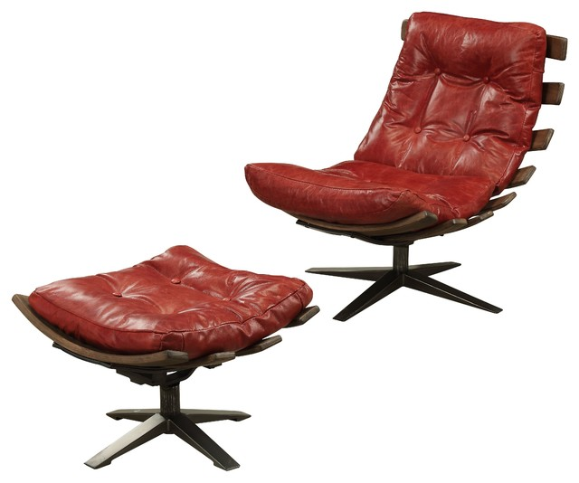 Incredible Acme Gandy 2 Pieces Pack Chair And Ottoman Antique Red Top Grain Leather Evergreenethics Interior Chair Design Evergreenethicsorg