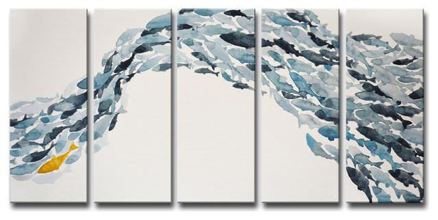 Ready2hangart &x27;goldfish&x27; By Norman Wyatt Jr. 5-Piece Wrapped Canvas Art Set.