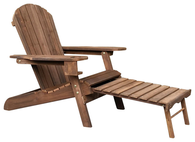 Pelican Hill Wood Adirondack Patio Chair With Pull Out Ottoman Dark Brown