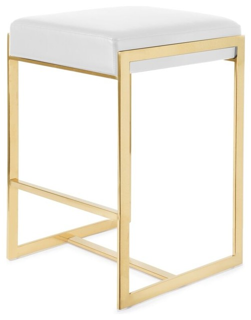 Logan Counter Stool, Polished Gold Stainless Steel Frame/white Seat.