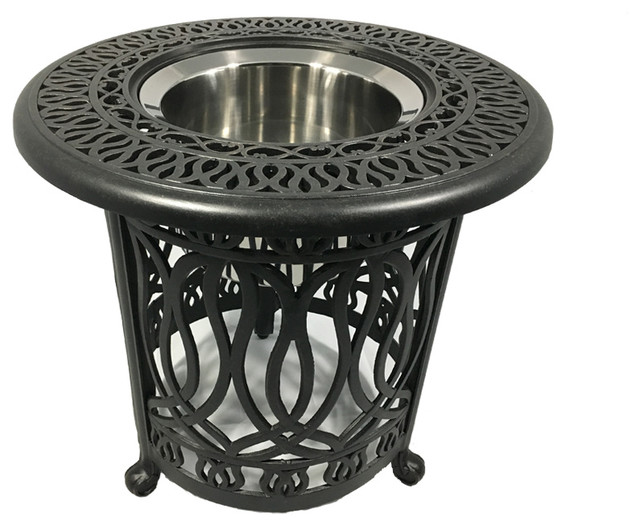 Cast Aluminum Patio 21 Round End Table With Ice Bucket Insert Desert Bronze Traditional Outdoor Side Tables By Sunvuepatio