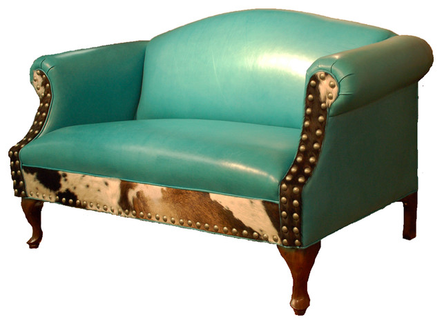 Albuquerque Turquoise Settee Southwestern Loveseats By Great Blue Heron Furniture