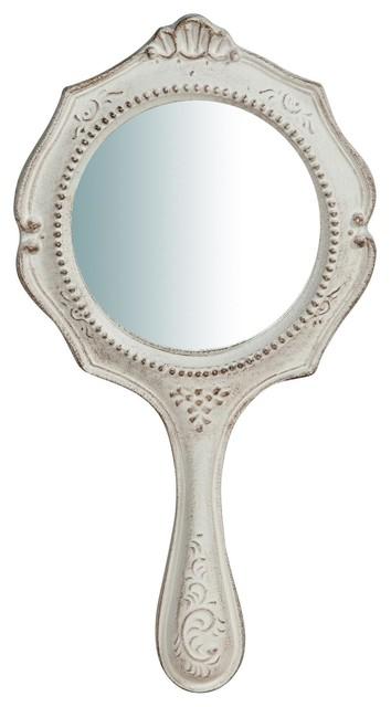 Country Round Handheld Mirror, White