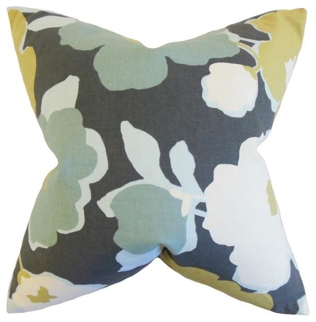 "Saar Floral Pillow, Charcoal 20""x20""."