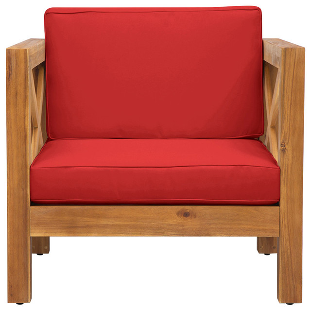 Strange Indira Outdoor Acacia Wood Club Chair With Cushion Red Lamtechconsult Wood Chair Design Ideas Lamtechconsultcom