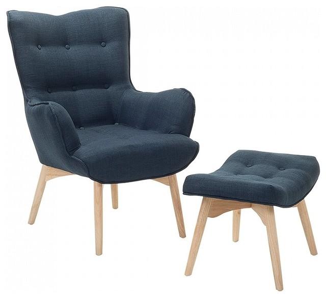 Vejle Upholstered Armchair and Ottoman, 2-Piece Set, Dark Blue