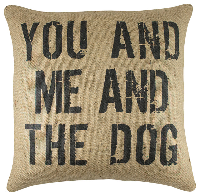 """""""You and Me and the Dog"""" Burlap Pillow, Black"""