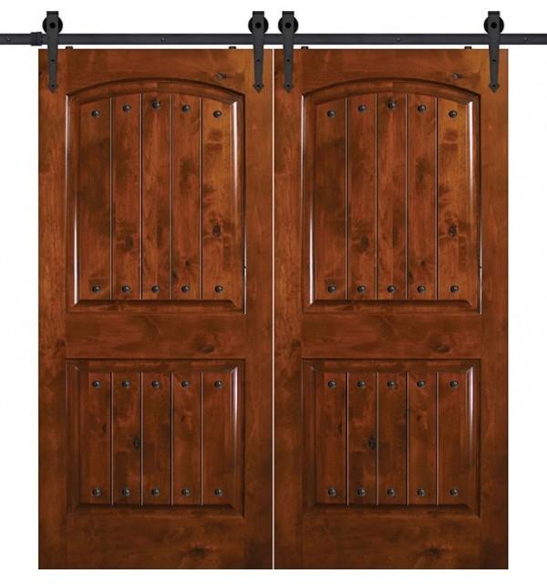 double knotty alder 2 panel barn doors 6 u0026 39  8 u0026quot  tall