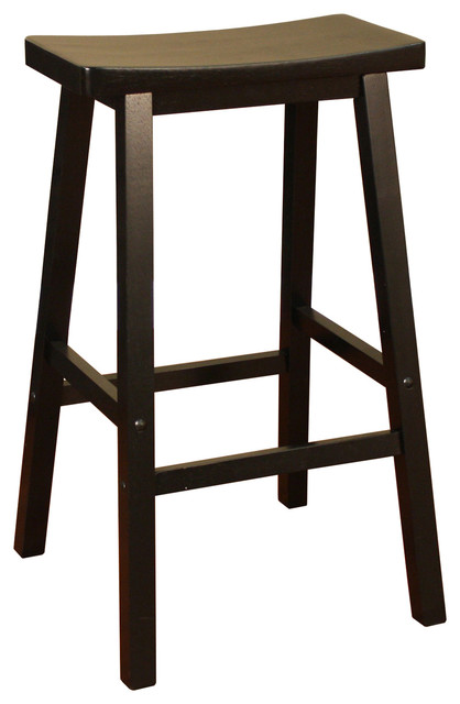 American Heritage Wood Saddle Stool in Black Inch traditional bar stools