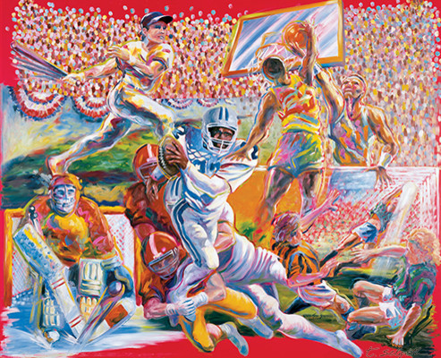 Team Sports 48x60 Inches Original Oil Painting On Wood