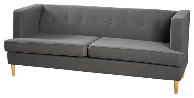 Mason Mid Century Modern Fabric Sofa, Charcoal Gray
