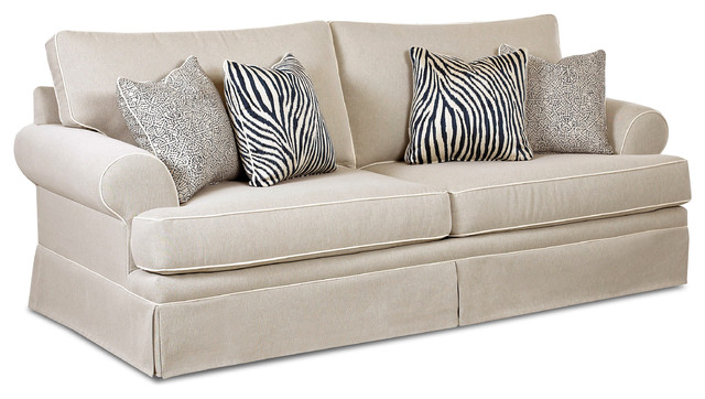 New Haven Queen Sleeper Sofa Canvas Taupe Traditional
