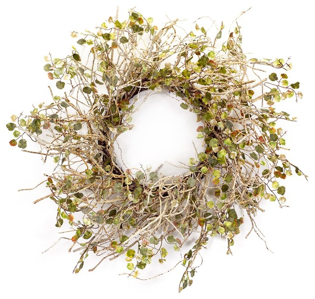 Birch Branch Wreath With Mini Leaves.