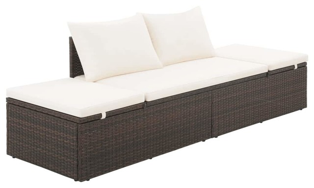 Prime Vidaxl Outdoor Lounge Bed Poly Rattan Wicker Brown Patio Day Sun Bed Lounger Dailytribune Chair Design For Home Dailytribuneorg