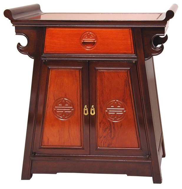Rosewood Altar Cabinet - Two-tone - Traditional - Accent Chests And Cabinets - by Oriental Furniture