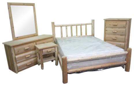 Northern White Cedar 5-Piece Log Bedroom Set, Queen.