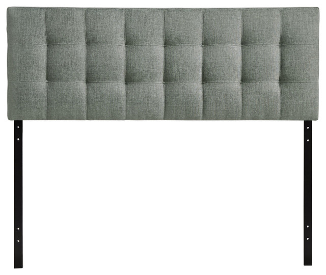 Lily Upholstered Fabric Headboard, King, Gray.