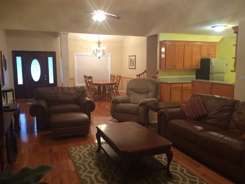 With The Living Room Dining But Nothing Dark Or Gloomy And What About Curtains Do They All Need To Match Since It Is An Open Floor Plan