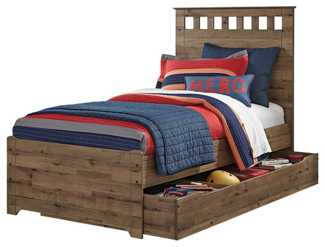 f9f8fb818dd1 Ashley Brobern Full Panel Bed With Under Bed Storage Trundle, Medium Brown  - Craftsman - Panel Beds - by GwG Outlet