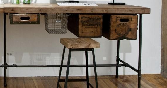Reclaimed Wood Rustic Home Office: Rustic Industrial Reclaimed Wood & Pipe Desk