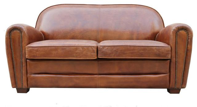 Pasargad Paris Club Genuine Leather Loveseat Tufted Sofa