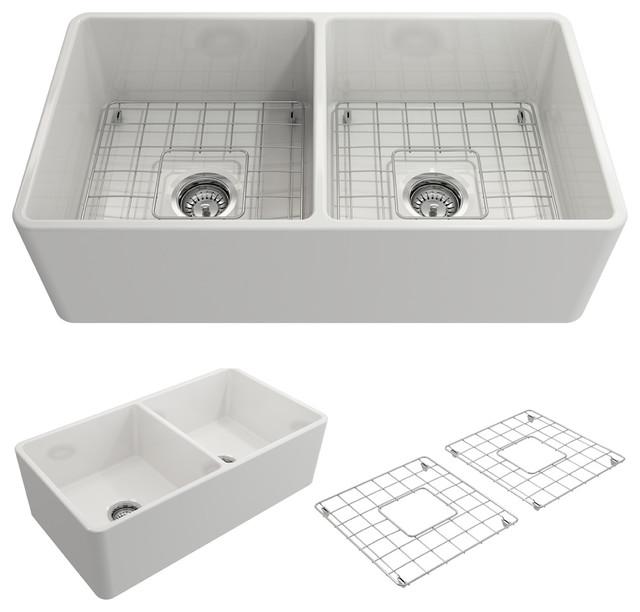 Bocchi Clico Farmhouse A Front 33 Double Bowl Kitchen Sink White