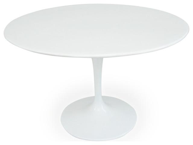 TulipStyle Round Table White Fiberglass Midcentury Dining - White tulip table 48
