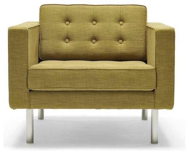 Beau Modern Tufted Fabric Armchair, Olive Green