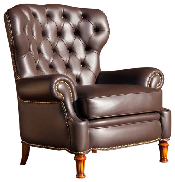 chocolate brown tufted leather armchair traditional