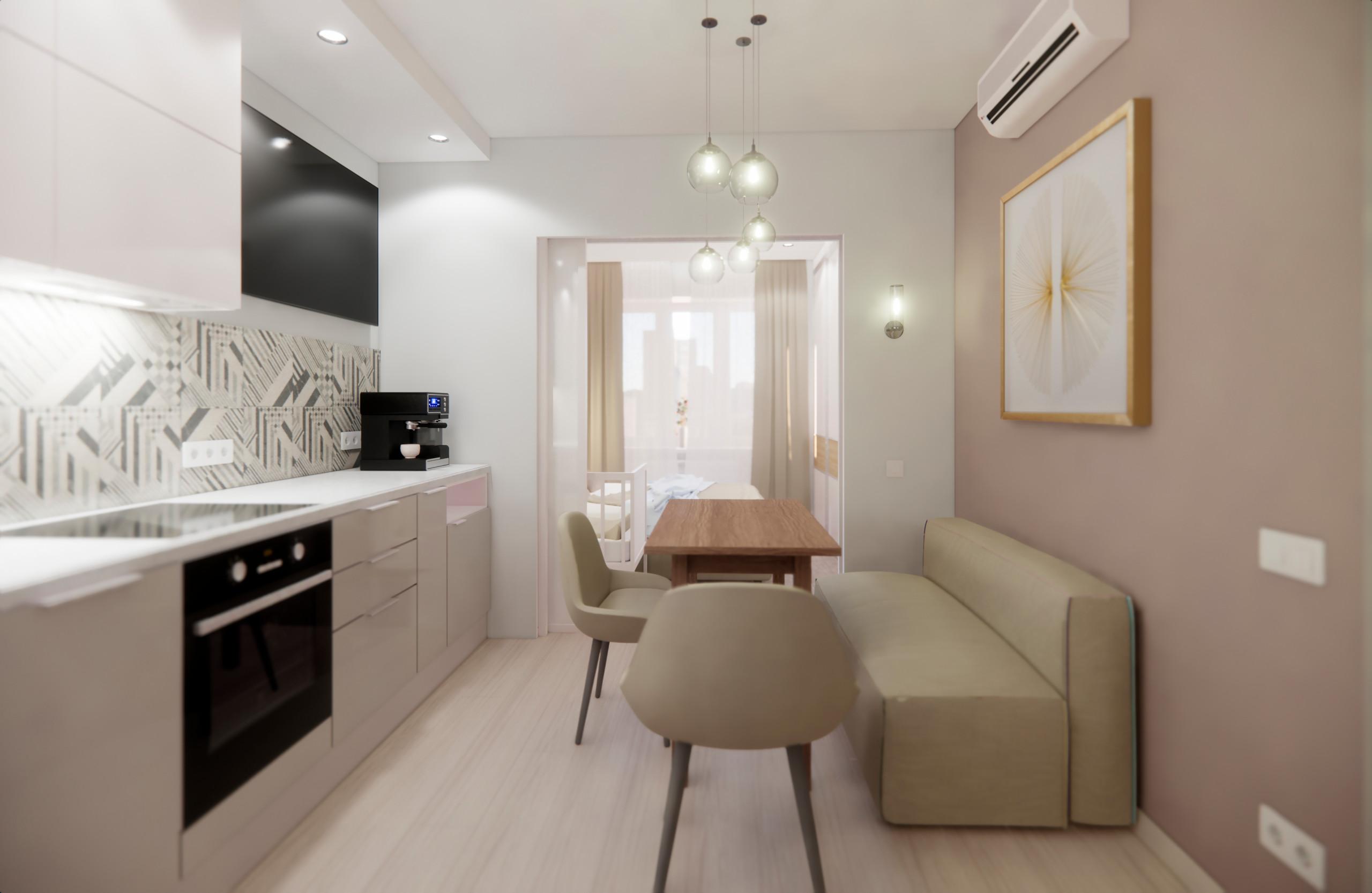 Квартира в минималистичном стиле в Пушкино - прихожая, кухня и гостиная
