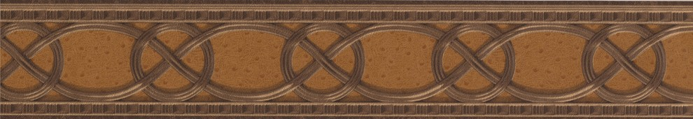 GEOMETRIC BROWN LEATHER LOOK WALLPAPER BORDER 81141LLO