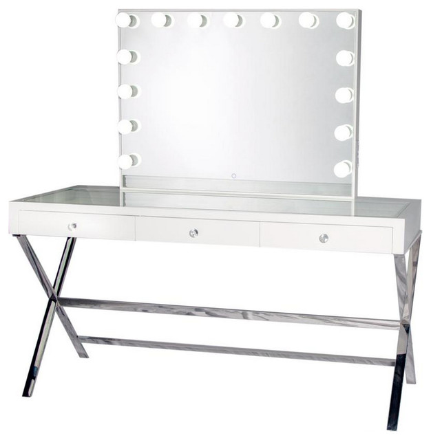 Glam Vanity Mirror With Dimmer, Table and Chair, White