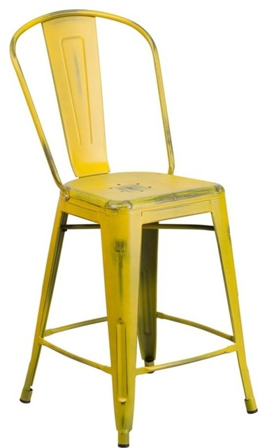 Flash Furniture Indoor Counter Stool With Back Distressed