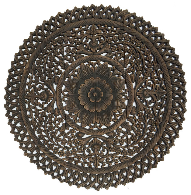 Wood Medallion Wall Decor elegant medallion wood carved wall art panelsasian wood carving