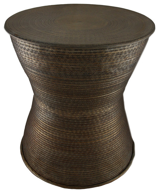 Hammered Drum Coffee Table: Antique Brass Hammered Finish Aluminum Accent Stool