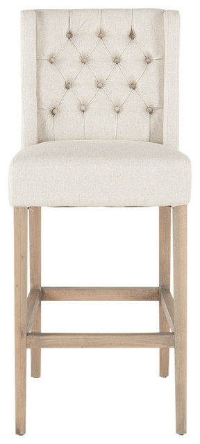 chloe high back barstool off white linen farmhouse bar stools and counter stools by world. Black Bedroom Furniture Sets. Home Design Ideas