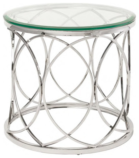Polished Stainless Steel Round Side Table Contemporary Side Tables And End