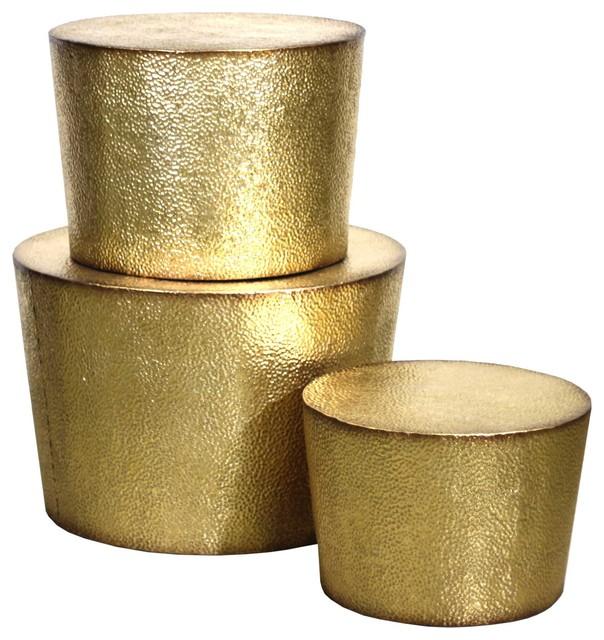 Charmant Desta Metal Accent Tables, Gold, Set Of 3