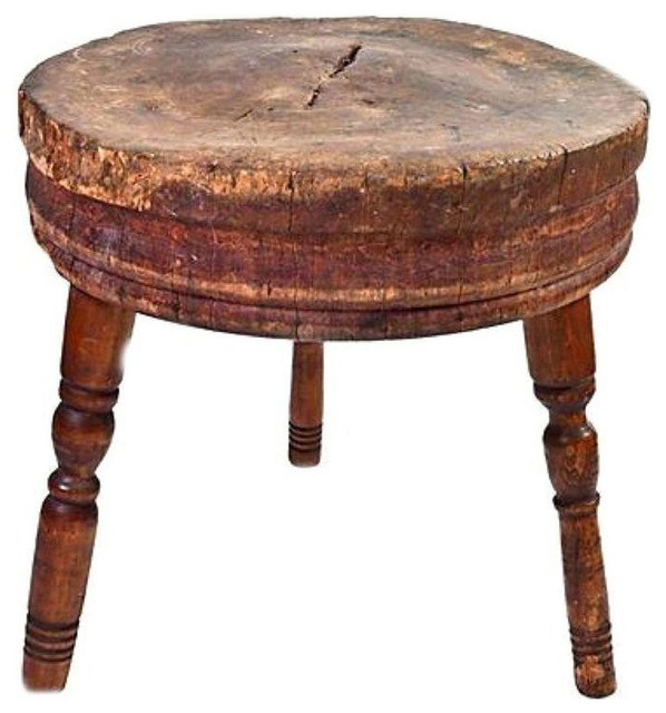 Antique Round Butcher Block Table 1 100 Est Retail 700 On Chairish Com