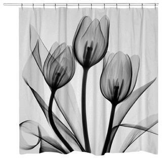 Curtains Ideas black shower curtain with white flower : Black and White Tulips Shower Curtain - Contemporary - Shower ...
