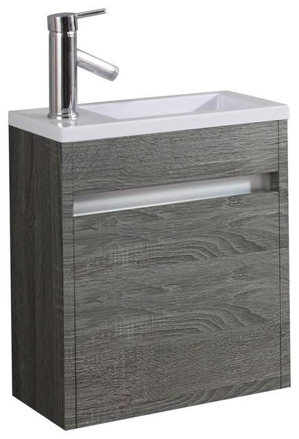 Bravo Wood Bathroom Vanity With Resin Sink, 45 cm