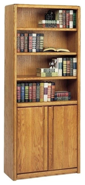 Martin Furniture Contemporary Bookcase With Lower Doors, Medium Oak.