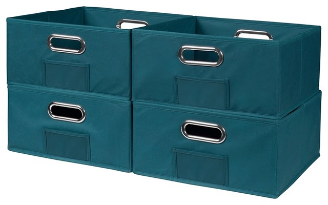 Cubo Set Of 4 Half-Size Foldable Fabric Storage Bins, Teal.