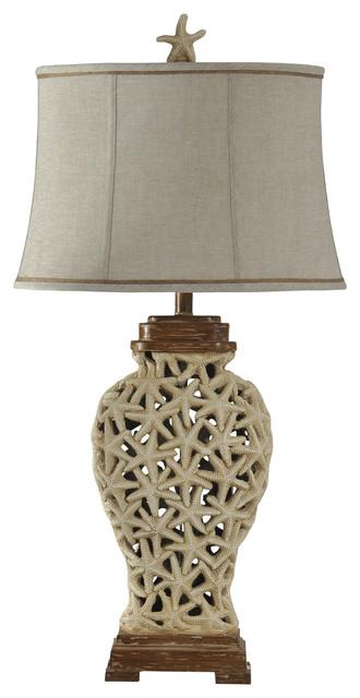 Solana Beach Table Lamp, Brown And Beige Finish, Beige Softback Fabric Shade.